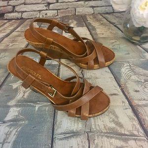 Aerosoles Strappy Brown Wedge Dress Sandals